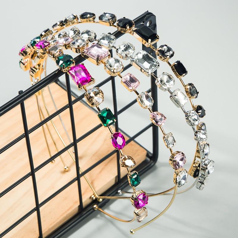 Boutique Baroque Colorful Crystal Headband for Lady Luxury Multi Color Rhinestone Hair Band Bridal Wedding Party Tiara Headpiece