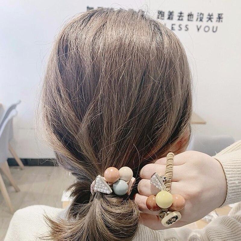 Korean Elegant Hair Rope Bracelet Scrunchie Women Elastic Hair Rubber Bands Accessories for Girls Tie Hair Ring Headdress