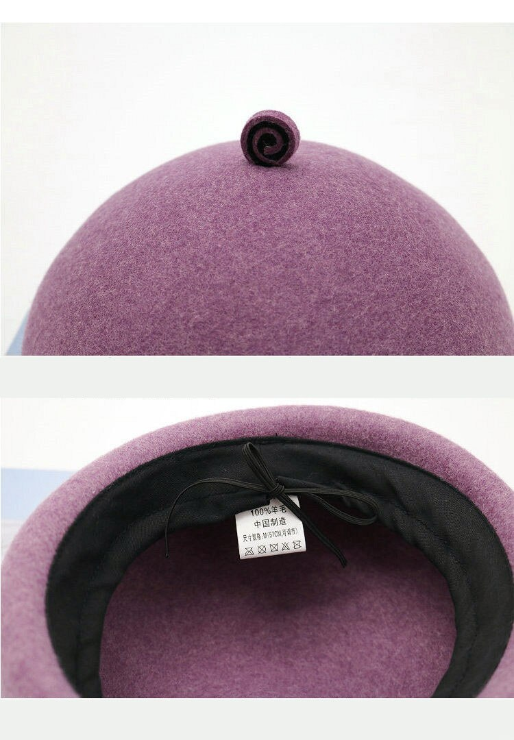 Fibonacci Womens Solid Wool Felt Beret Hat Lovely Mushroom Shape Berets Female Winter Sweet Pumpkin Hat