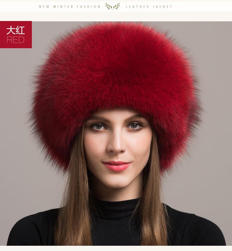 Ladies 100% Real Fox Fur Hat Women Winter Warm Luxury Ski Head Ear Warmer Earmuff Fluffy Sheepskin Warm Snow Cap