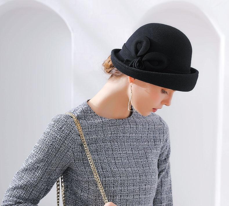 Fibonacci 2018 New Brand Quality Flanging Floral Wool Felt Fedoras Women's Autumn Winter Hats Dome Elegant Banquet Fedora Hat