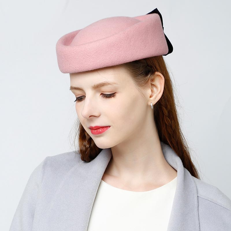 Fibonacci 2020 New Wool Fedora Hats For Women Charming Pink Hat Banquet Headdress Cap Elegant Female Bow Berets Caps Pillbox Hat