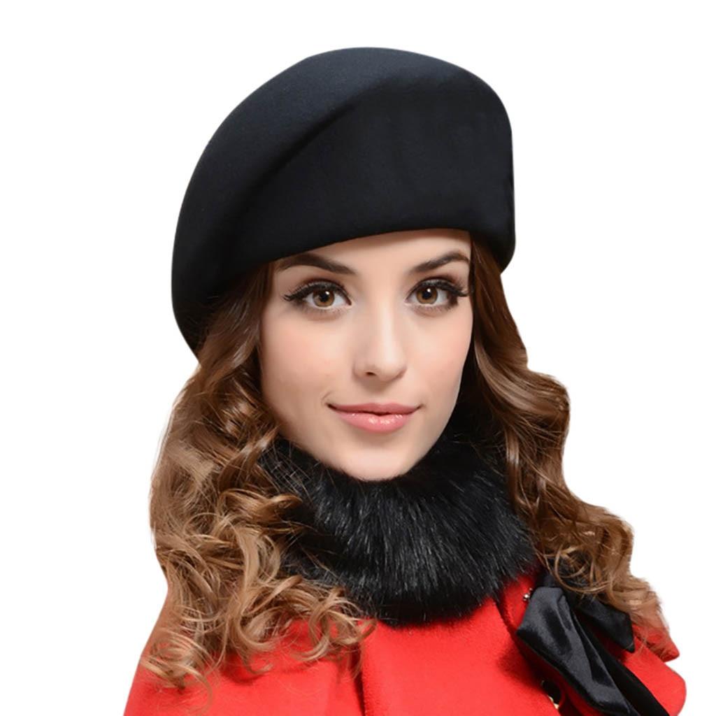 Women Wool Beret Hat New Autumn And Winter Comfortable Outdoor Warm Stewardes Hat Lady Solid Color Flat Cap Felt Berets