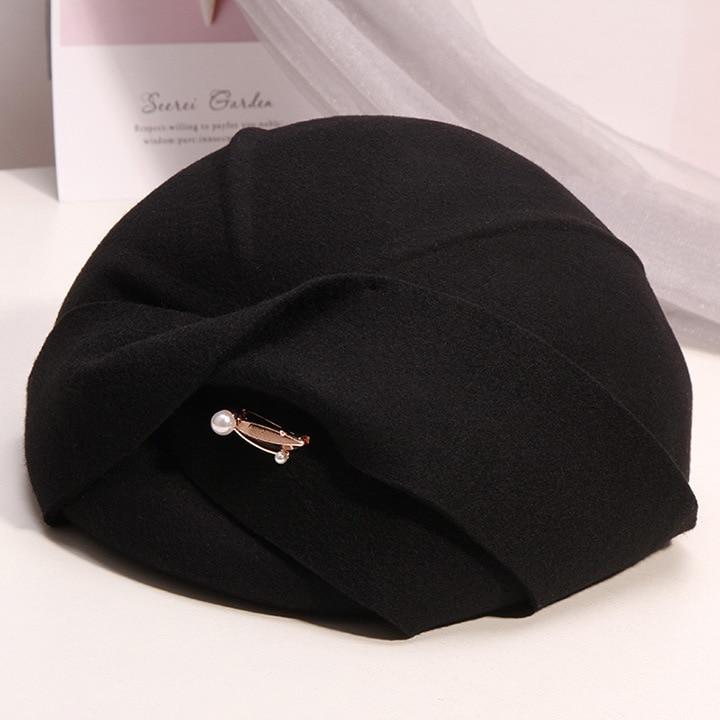 Fibonacci Hat Fashion Fedoras Hats Autumn Winter Vintage Wool Felt Hats For Women Beret Stewardess Church Ladies Formal Caps