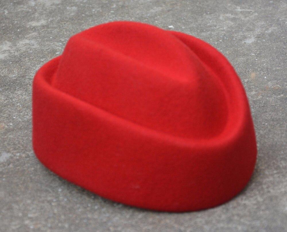 Winter Women Beret Hats Solid Fascinators Hats Boat Wool Pillbox Hat Stewardess Air Hostesses Millinery Hat Base  Ladies Fedoras