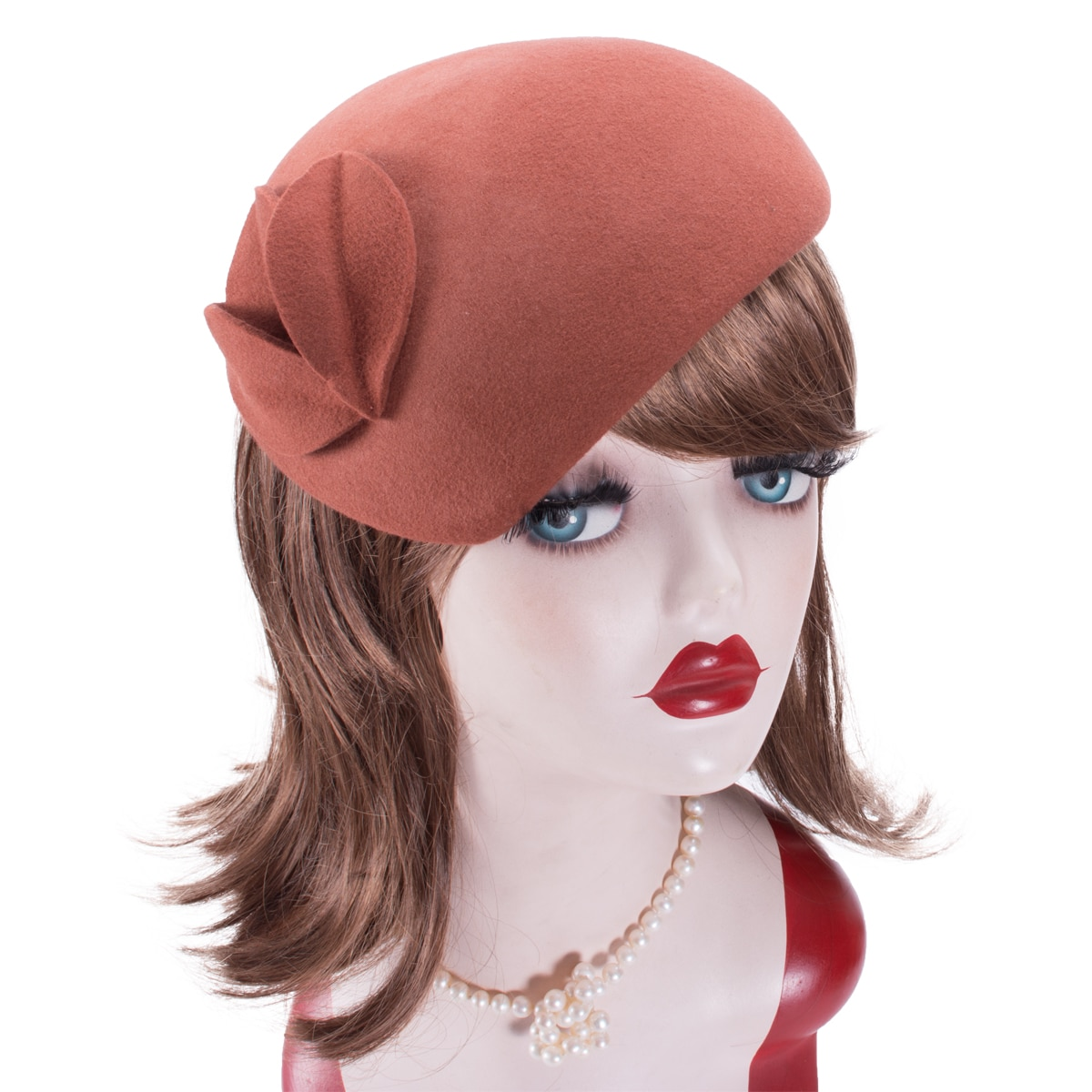 Lawliet  Teardrop Womens British style wool felt fascinator hat with flowers Tam Beret Casque Cocktail Hat A574