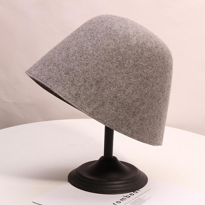 Fibonacci 2019 New Fashion Women's Hat Solid Color Fedoras Wool Felt Personality Man Popular Unisex Basin Cap Female Bucket Hats