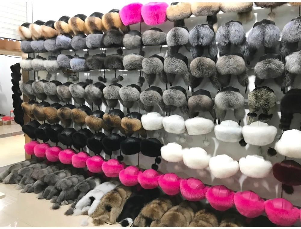 Russia Women New Style Winter Genuine Real Fox Fur Hat 100% Natural Real Fox Fur Ears Cap Warm Soft Real Fox Fur Bomber Hats