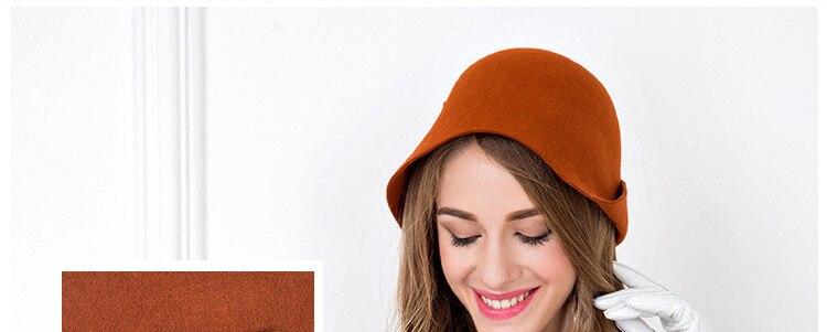 FS Vintage Black Orange 100% Wool Cloche Hats Women Wide Brim Felt Fedora Bowler Church Hat Winter Sloppy Ladies Chapeau Femme