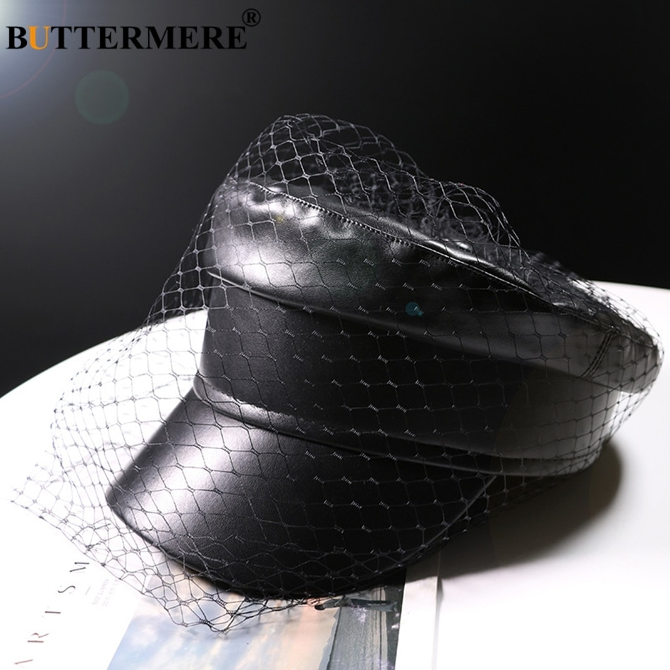 BUTTERMERE Leather Military Cap Women Black Captain Hat With Veil Elegant Solid Fiddler Cap Ivy Female Autumn Casual Sailor Caps