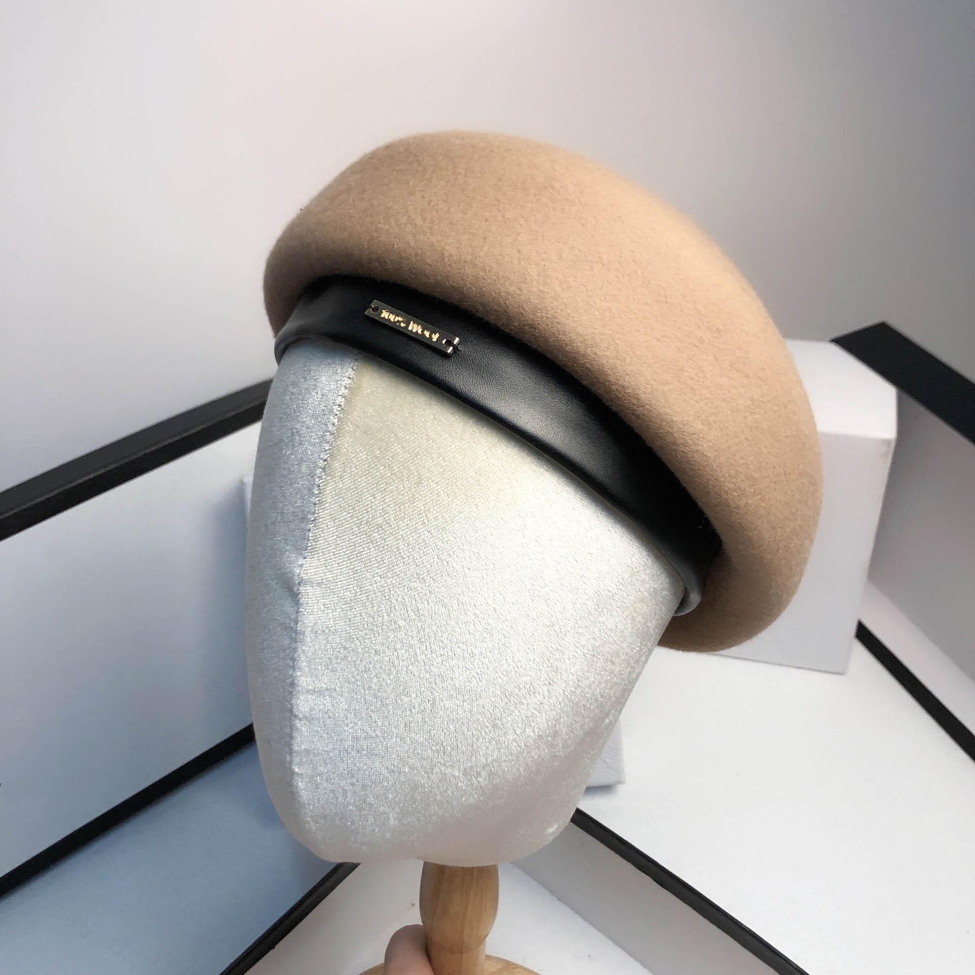 QDKPOTC 2020 Hat Autumn Winter New Women High Quality Wool Stereotype Berets Fashion Ladies Flight Attendant Banquet Fedoras Cap