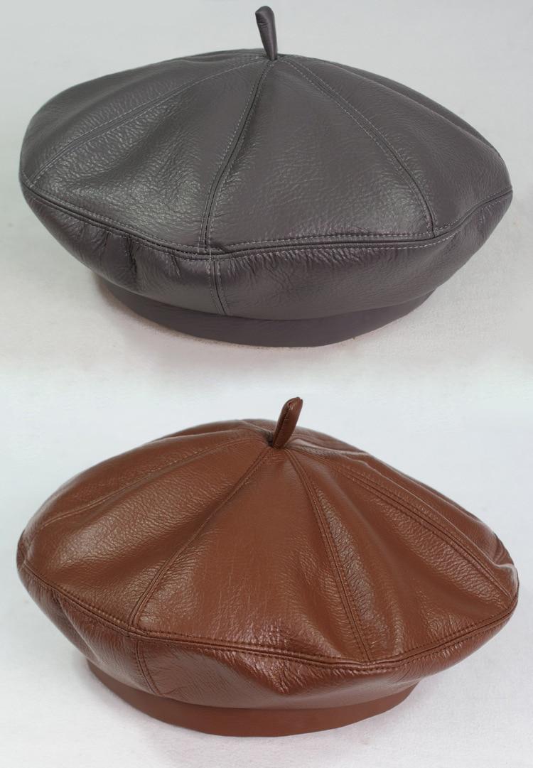 2020 Fashion Women PU Leather Octagonal Caps Newsboy Cap Vintage Bonnet Beret Style Retro Leather Hat Cowboy