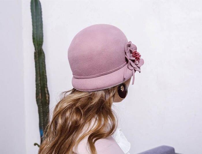 Fibonacci 2017 New Women Wool Felt Hat Elegant Female Small Fedoras Floral Dome Fedora Hats