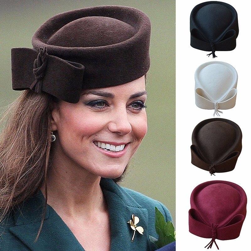 Teardrop Women Hats Vintage Look Pillbox Fascinator Hat Top Fancy Wool Felt Hat Cocktail Racing Party Wedding Church A253