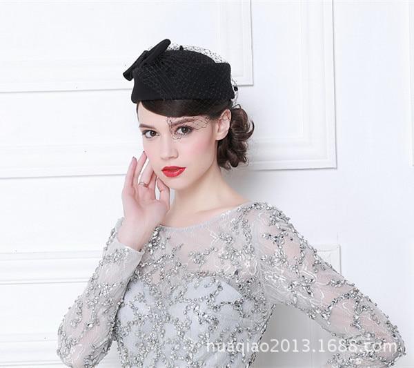 Vintage French Wool Women Beret Winter Felt Hat With Bow Flat Top Hats Lady Stewardess Cap Fedoras Chapeau Femme Feutre