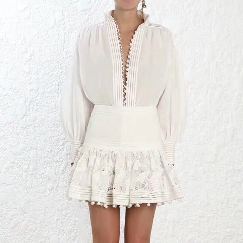 VGH Casual Solid Two Piece Women Lapel Lantern Sleeve Tops High Waist Slim Mini Skirt Zipper Sets Female Fashion New 2020 Summer