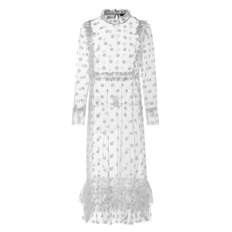 Beach Women Maxi Dress 2020 VONDA Bohemian Summer Sundress Lace Vestido Transparent Casual Loose Vintage Layered Dress Plus Size