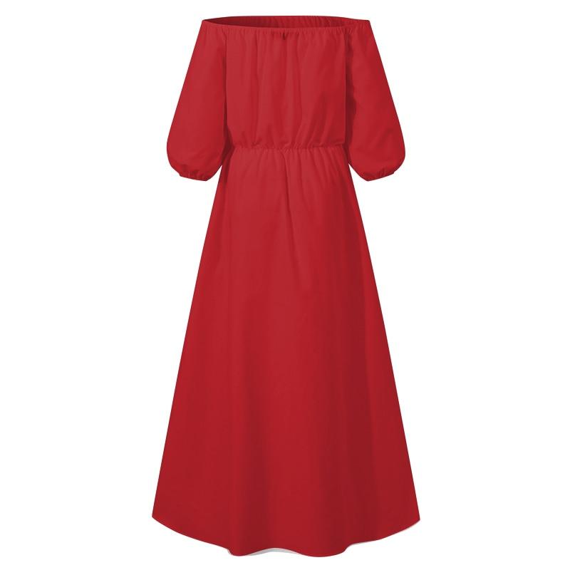 Celmia High Split Sexy Dress Women Off Shoulder Long Dress Casual Loose Solid Plus Size Sundress Summer High Waist Buttons Dress