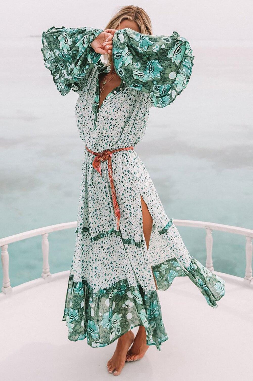 New Fashion Summer Womens Floral Boho Long Dress Evening Party V Neck Maxi Dress Plus Size