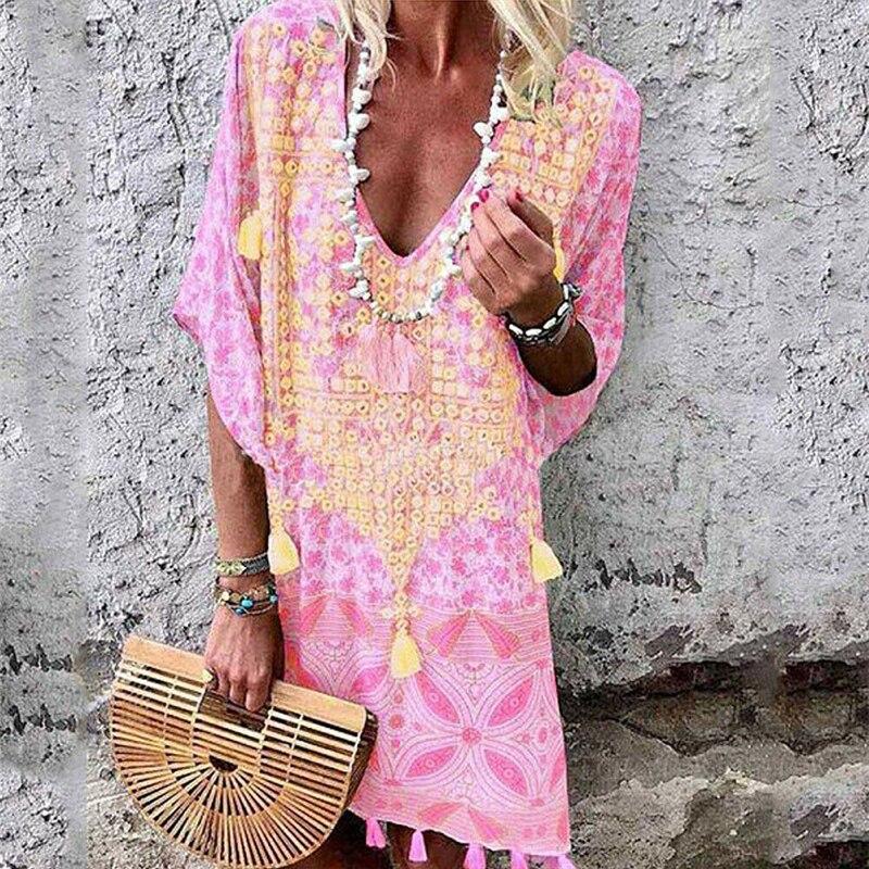 Women Summer Dress Sexy V Neck Ladies Clothes Casual Kaftan Dress Plus Size Boho Dresses For Women Sundress Loose Party Dresses