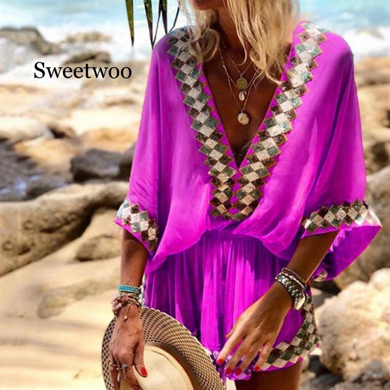 Women Sexy Deep V-Neck Digital Print Short Dresses 2020 Summer Three Quarter Bat Sleeve Mini Dress 2XL Casual Loose A-Line Dress