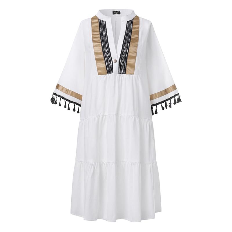 VONDA Summer Beach Dress Women Sundress Vintage Print Sundress V Neck Party Dress 2020 Bohemian Vestido Casual Robe Plus Size