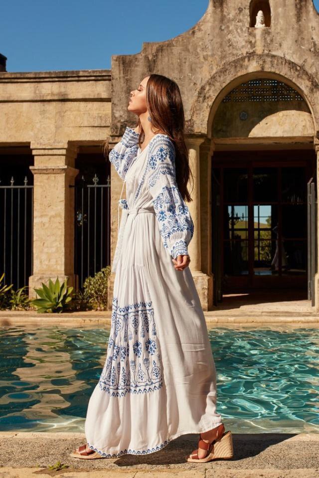 Summer new style of retro ethnic travel holiday embroidered long dress Bohemian beach island dress V neck loose oversize dress