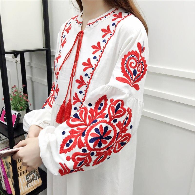 Cheshanf Floral Embroidered Ethnic Dress Cotton Linen Lantern Long Sleeve Maxi Dress Black Blue White Loose Long Dress Women