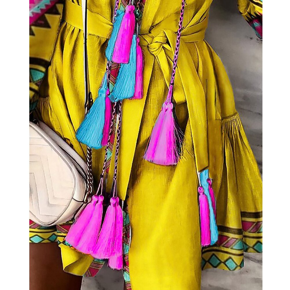 Women Boho Vintage Tassel Floral Printed Dress Wood Ear Ruffles Lantern Long Sleeve Lacing Dresses Loose Mini Dress