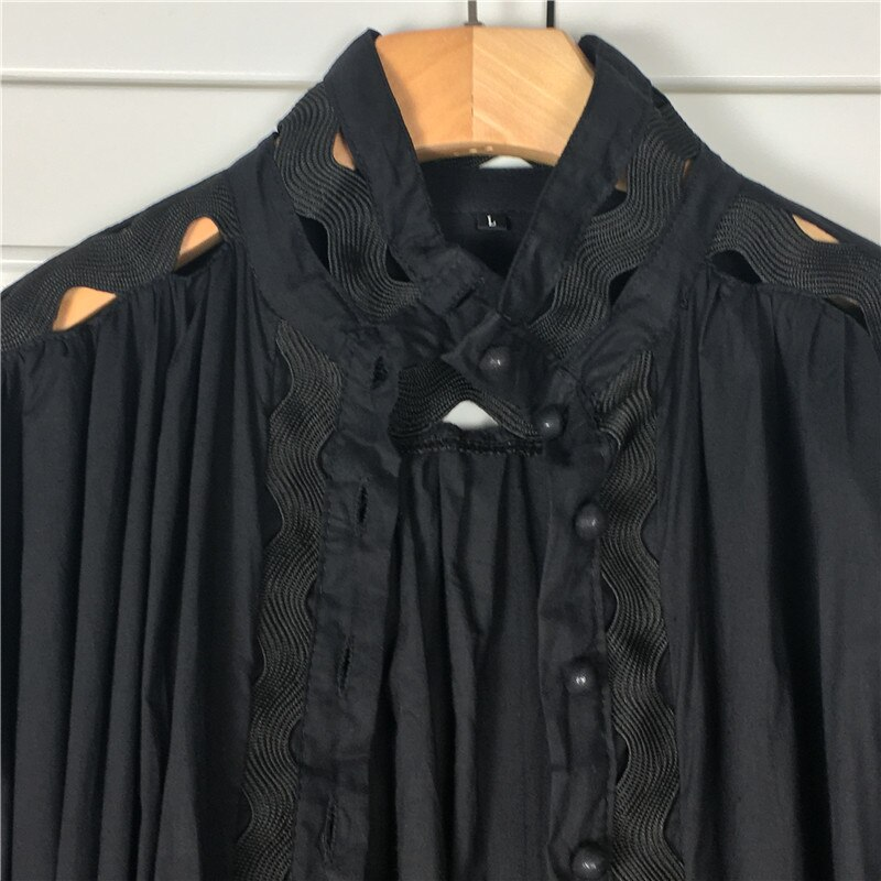 Autumn Dress New Fashion 2019 Women Stand Sexy Hollow Out Patchwork Lantern Sleeve Button Black White Shirt Mermaid Mini Dress