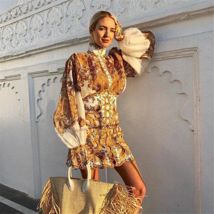 YAMDI Fashion Runway Top Female Puff Sleeve Blouse Women 2019 Autumn New Designer High Neck Chic Elegant Silhouette Blouse Shirt