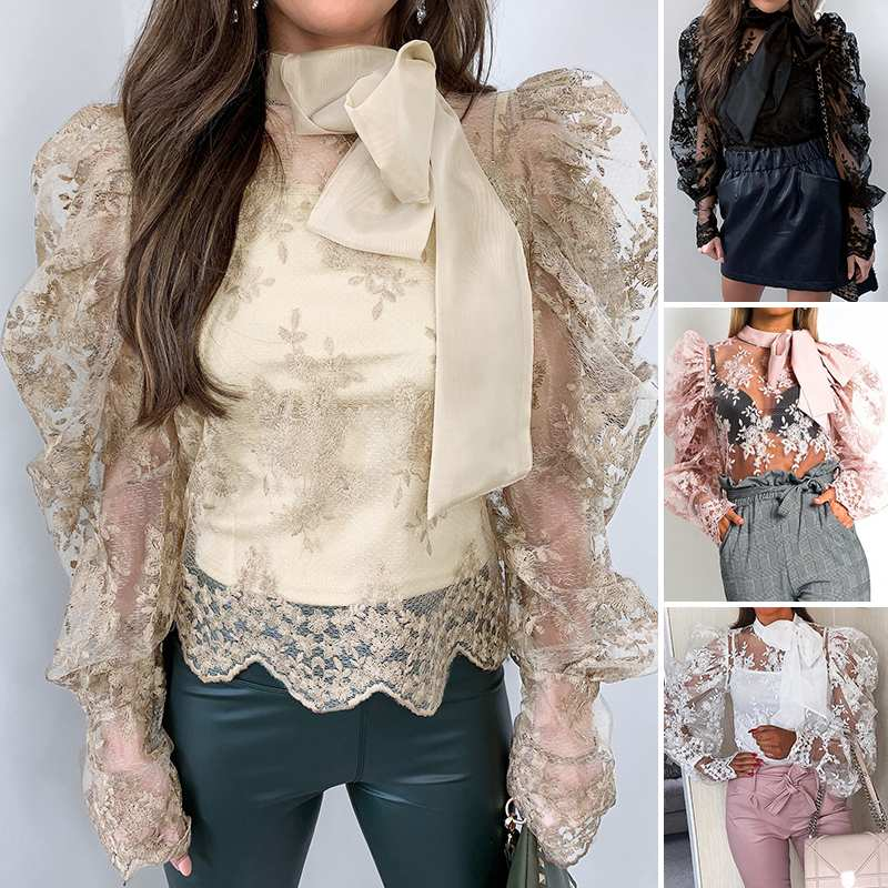 ZANZEA Summer Sexy Lace Blouse Elegant Women Long Puff Sleeve Lace Crochet Tops Bow Tie Shirt Femme Robe Party Blusas Chemise
