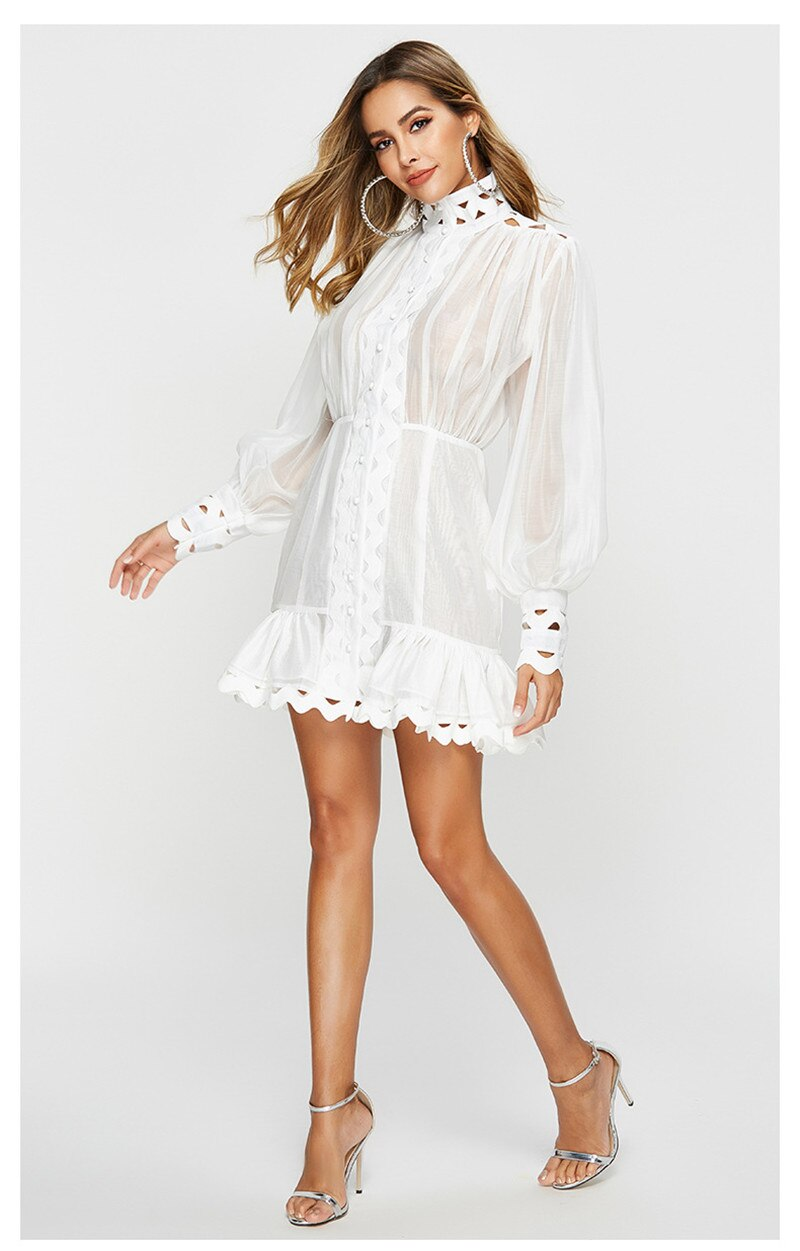 Summer Dress New Fashion 2019 Women Stand Sexy Perspective Hollow Out Lantern Sleeve Button Black White  Mermaid Mini  Dress