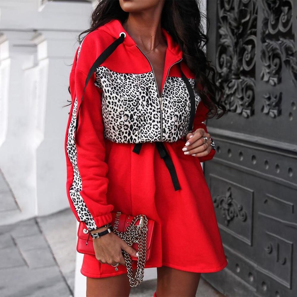 Women Sexy Leopard Print Elasticis Waist Sweatshirt Hoodie Dress Lady fall Winter Fashion Mini Dress Warm Zipper Party Dress D30
