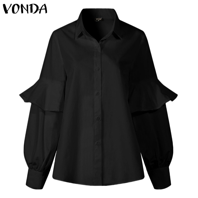 Sexy V Neck Tops 2020 VONDA Mujer Plus Size Blusas Women Blouses Long Latern Sleeve Solid Shirts Femme Work Blusas Loose Tops