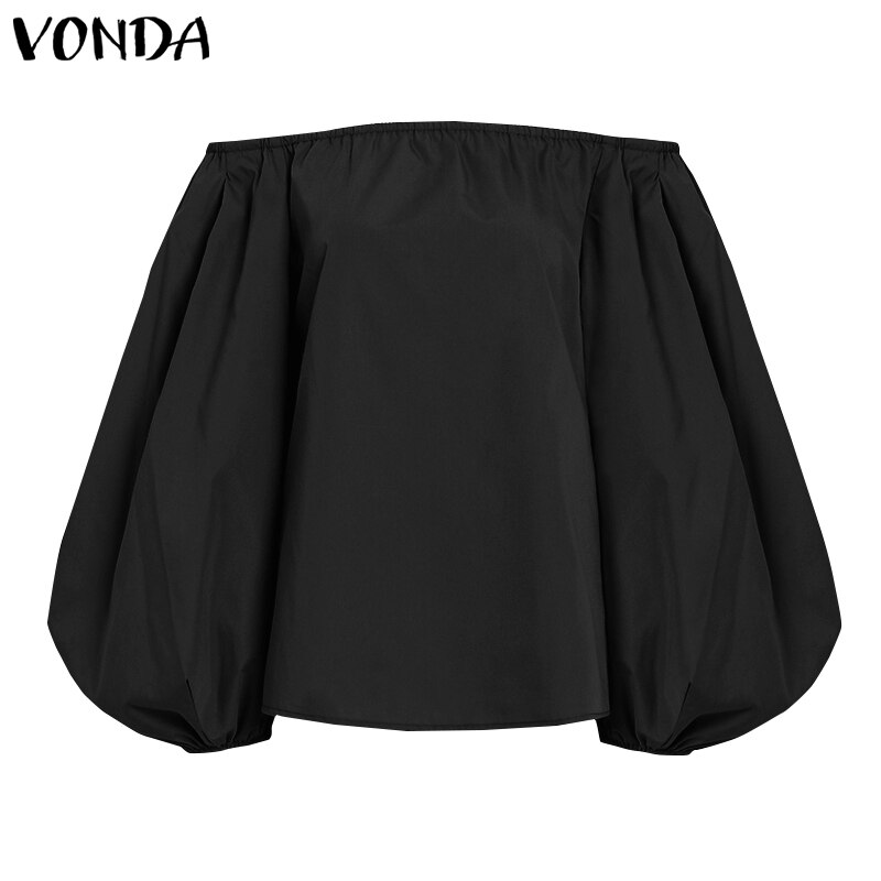 S-5XL Puff Sleeve Blouses VONDA 2020 Autumn Fashion Women Tops One Shoulder Casual Tops Loose Sexy Blusas Femme Chemise Party