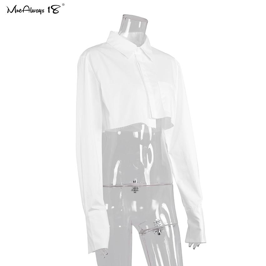 Mnealways18 Streetwear Wit Cropped Blouse Vrouwen Lange Mouw Katoenen Shirt Turn Down Kraag Lente Casual Tops Knop Onregelmatige