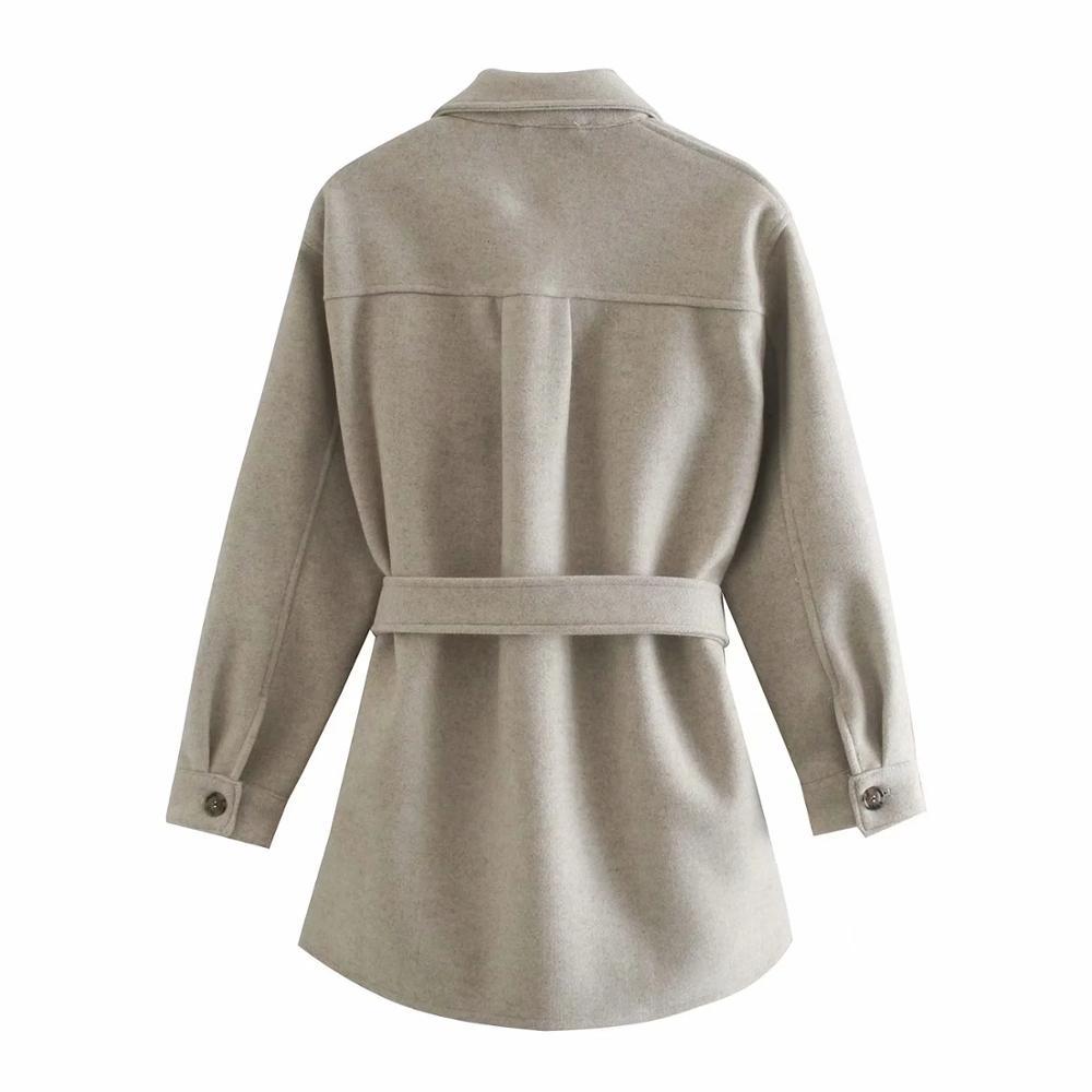 Xnwmnz Za Vrouwen 2020 Mode Met Riem Losse Wollen Jasje Vintage Lange Mouwen Zijzakken Vrouwelijke Bovenkleding Chic Overjas
