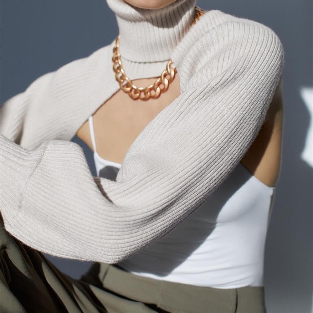 Za Vrouwen Coltrui Sexy Korte Trui 2020 Fashion Dames Volledige Mouw Chic Vrouwelijke Streetwear