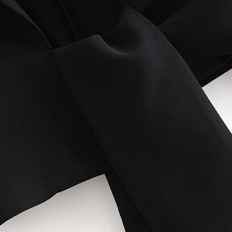 Kumsvag 2020 Zomer Vrouwen Zwart Blazers Jassen Lange Mouw Strikje Notched Kraag Korte Blazer Vrouwelijke Mode Blazers Bovenkleding