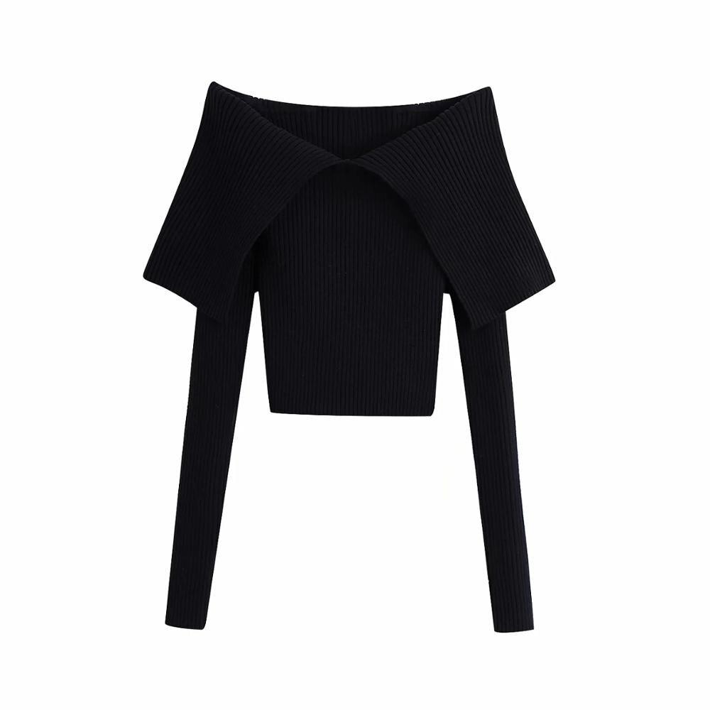 Xnwmnz Za Vrouwen 2020 Fashion Ingericht Knit Top Vrouwelijke Chic Top Met Een V-Hals En Lange Mouwen Met blootgesteld Schouders