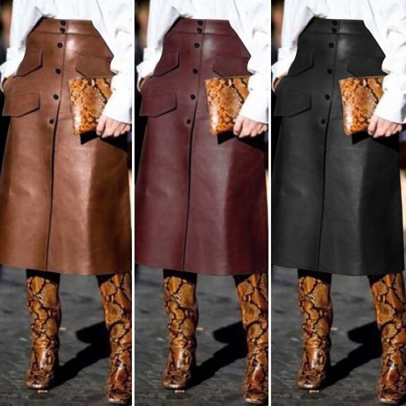 Stijlvolle Pu Lederen Rokken Vrouwen Knop Vestidos Zanzea 2020 Hoge Taille Split Pockets Midi Rokken Vrouwelijke Effen Gewaad Plus size