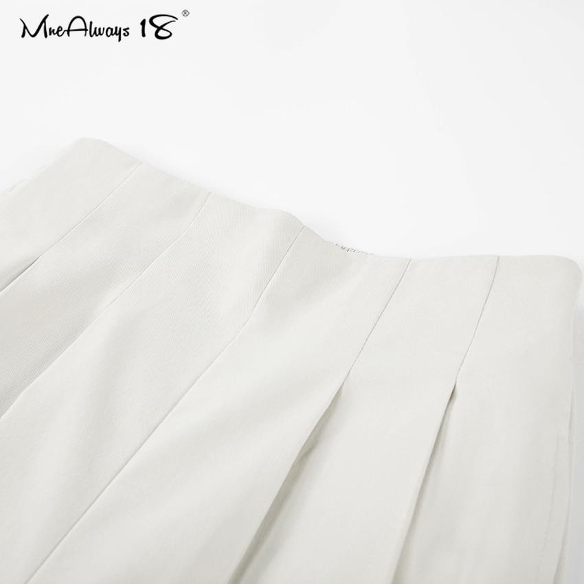 Mnealways18 Elegante Kantoor Broek Vrouwen Herfst Hoge Taille Geplooide Broek Dames Werk Broek Fashion Cream Broek Met Zakken