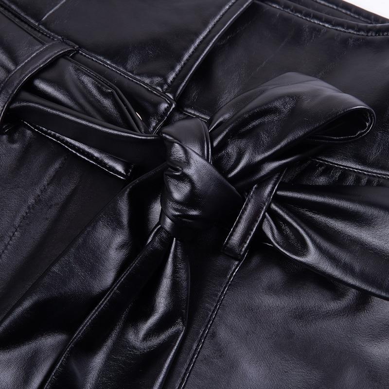 Instahot Goud Zwarte Riem Hoge Taille Potlood Broek Vrouwen Kunstleer Pu Sjerpen Lange Broek Casual Sexy Exclusieve Design Fashion