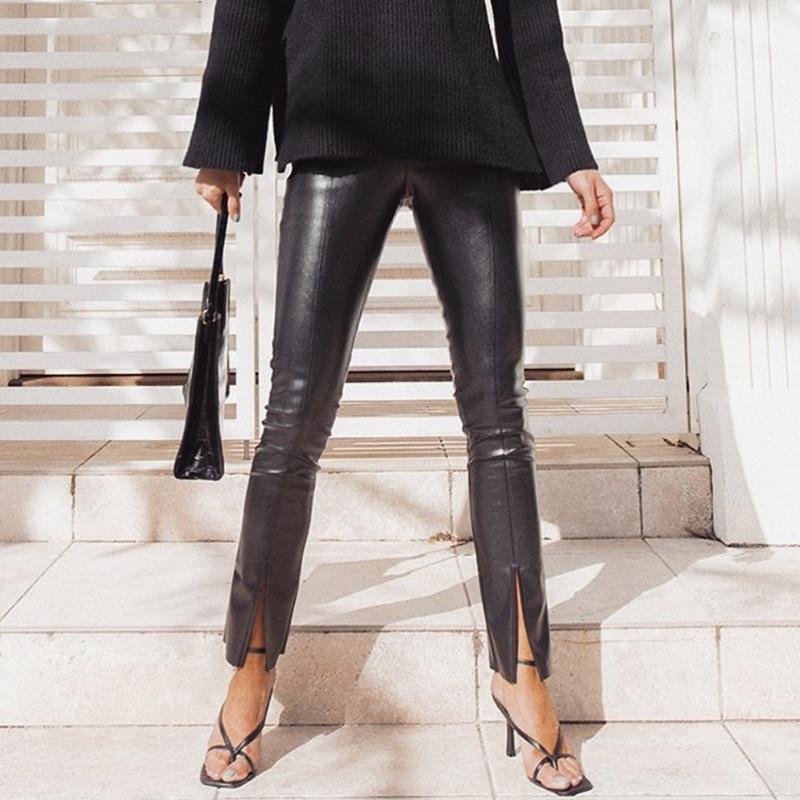 Instahot Vrouwen Faux Lederen Broek Broek Split Flare Broek Zwarte Hoge Taille Skinny Pu Lederen Pantalones Winter 2020 Lady Capri