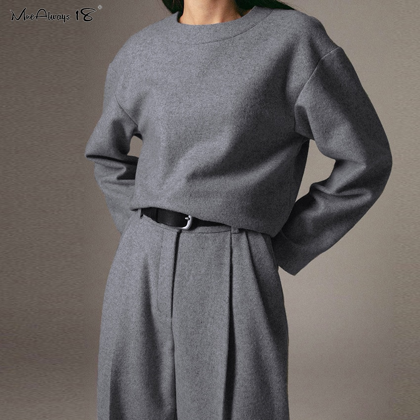 Mnealways18 Grijs Dames Elegant Werk Broek Hoge Taille Wollen Winter Broek Vrouwen Pocket Casual Geplooide Broek Office 2020