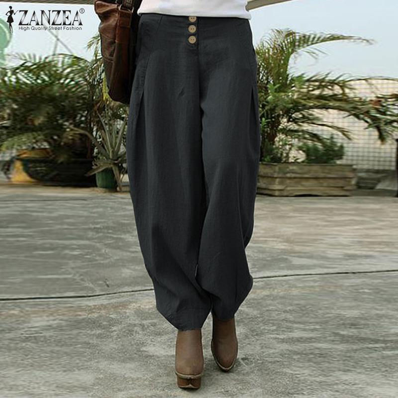 Zanzea Vrouwen Broek 2020 Fashion Dames Wijde Pijpen Lange Broek Losse Zakken Elastische Taille Bodems Streetwear Pantalones Femme