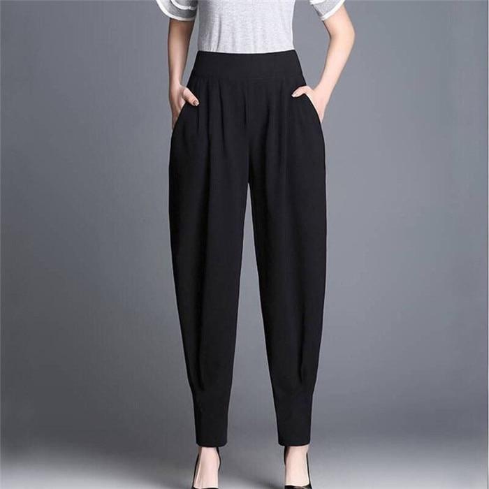 Vrouwen Harembroek 2019 Lente Zomer New Fashion Casual Modellen Bloeiers Broek Vrouwelijke Vrouwen Zwarte Hoge Taille Broek