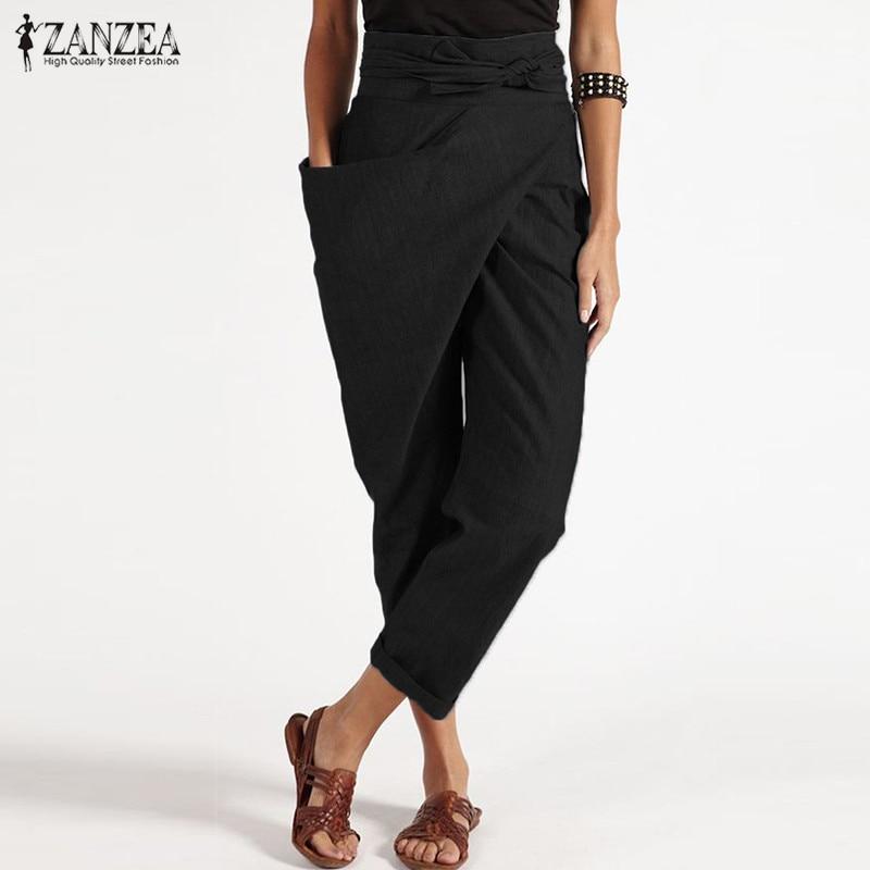 Mode Vrouwen Harembroek Zanzea Casual Lace Up Solid Raap Broek Vrouwelijke Kantoor Werk Broek Elegante Potlood Pantalon Palazzo