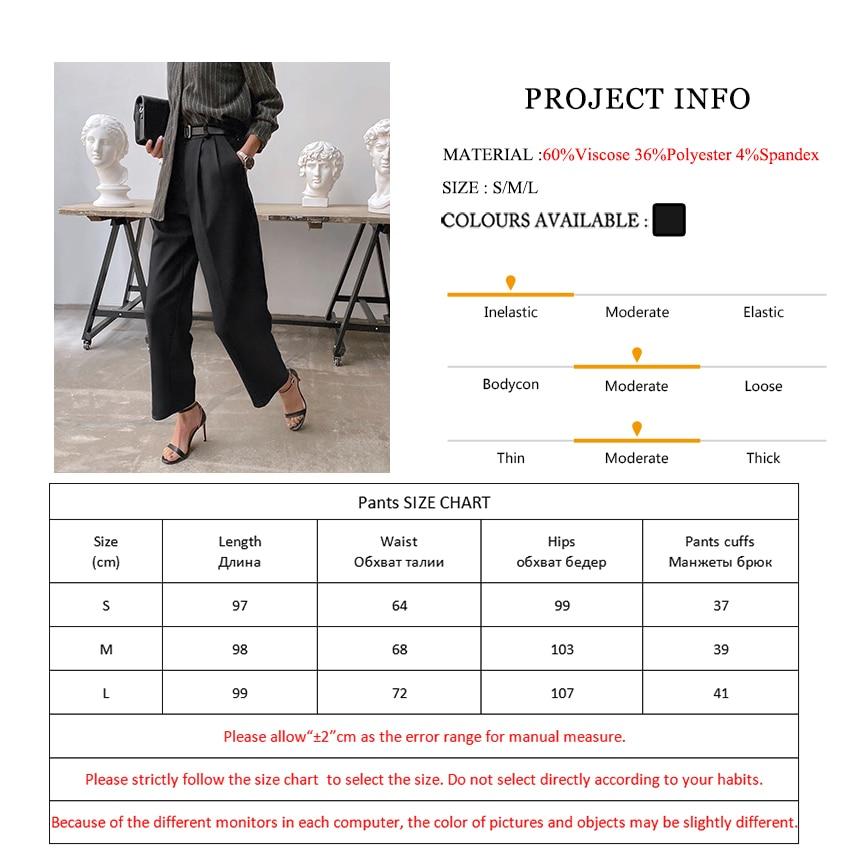 Mnealways18 Losse Office Dames Geplooide Broek Straight Werk Lange Broek Vrouwen Zwart 2020 Elegante Twill Hoge Taille Broek